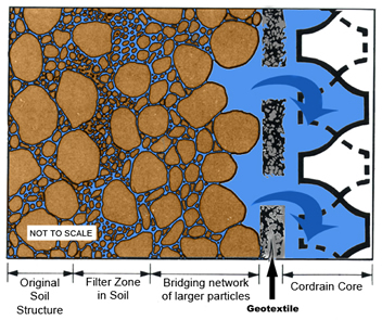 Magnified cross-section of Cordrain and soil filter
